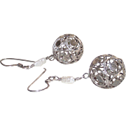 Silver Filigree Ball Pierced Earrings with Fresh Water Pearls