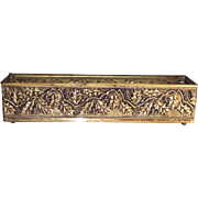 English Brass Flower Box Rectangular Holly Berry Pattern  Mantle Large