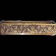English Brass Flower Box Rectangular Holly Berry Pattern  Mantle Large