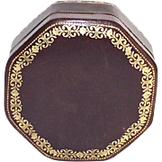 Italian Leather Gold Gilt Tooled Small Octagon Box