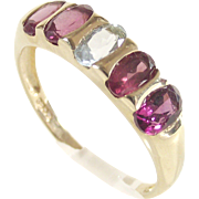 Rubellite Tourmaline and Aquamarine Half Eternity Band Ring 10Kt Yellow Gold Band