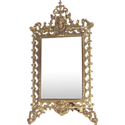 Victorian Gilt Table Mirror with Puti or Cherub