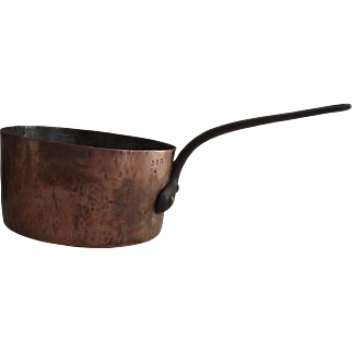 French Three Quart Copper Sauce Pan