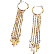 Demi Hoop Earrings with Long Fringe Gold Tone