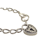 Victorian Sterling Heart Lock Charm Bracelet Child's