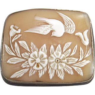 Shell Cameo Bird in Flight and Flowers  Antique Hand Carved Sterling Frame