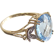 Swiss Blue Topaz Ring with Checkerboard Cut 3 Caret Stone in 10Kt Yellow Gold Ring