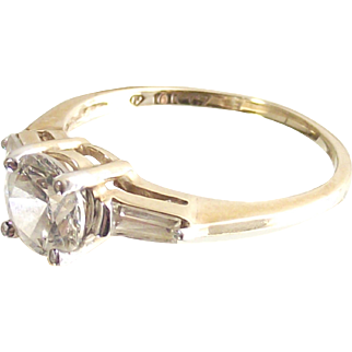Baguettes and Round CZ's Ring 10 kt Yellow Gold