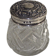 Sterling Silver and Cut Glass Floral Repousse Vanity Dresser Jar English  1900