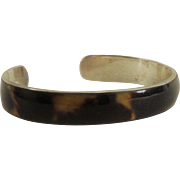 Sterling and Tortoise Shell Lucite Cuff Style Bangle