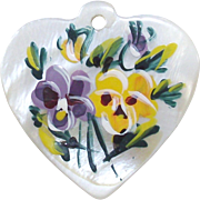 Vintage Mother of Pearl Heart Charm with Hand Painted Pansies Purples and Yellow