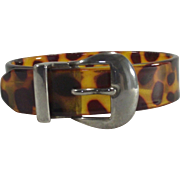 Vintage Tortoise Shell Buckle Bangle Wide Lucite