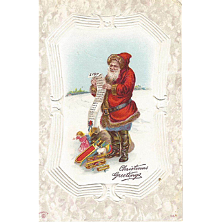 Vintage  Santa Post Card Signed P. Sander with GREAT TOYS and THE List