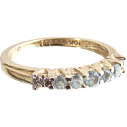 Ten Karet Yellow Gold Ring Guard Band Ring with Sky Blue Topaz and Tiny Diamonds