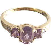Past Present Future Ring Three Oval Rose D' France Amethyst in Ten Karet Yellow Gold