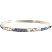 Art Deco Bangle Sapphire Blue and Clear Stones  Sterling and Signed
