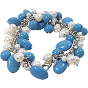 Sterling Turquoise Howlite and Fresh Water Pearls Charm Style Bracelet