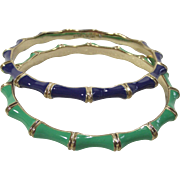 Enamel Bamboo Style Bangles Stella and Dot Grass Green and Navy Blue