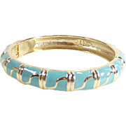 Turquoise and Gold Tone Enamel Clapper Style Bangle Bracelet