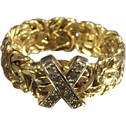 14 Karet Bi Color Gold Byzantine Ring With Diamonds