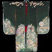 Vintage Silk Crepe Japanese Kimono with Original Obi and Obijime Cord