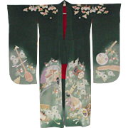 Vintage Silk Crepe Japanese Kimono with Original Obi and Obijime Cord
