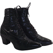 Edwardian Ladies Lace up Black Boots