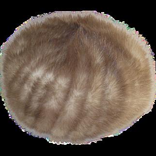 Vintage Blonde Mink Pill Box Hat 1960's