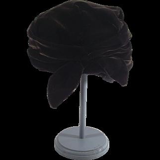 Clouch Turban Deep Chocolate Ladies Dress Hat 1940s