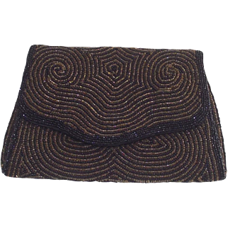 Beaded Belgian Clutch Black and Gold Hand Bag