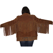 Ladies Cow Leather Western Fringe Jacket