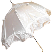 Victorian Childrens or Doll Parasol Umbrella with Ornately Carved Bone Handle