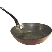 """Copper Saute' Pan Marked """"The Embassy"""" Hand Forged Seamless"""