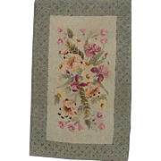 Vermont Floral Hooked Rug Lilies Morning Glories Iris and Daisies Celtic Border