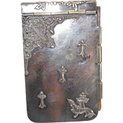 German Art Nouveau Silver Plate Aide Memoire with Dachshund