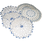 Hand Crocheted Blue and White Round Doilies Five Piece Doilies