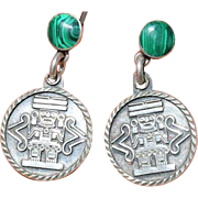 Taxco Mexico Aztec Style Sterling and Malachite Earrings