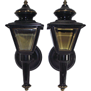 Pair of Black Tole Carriage House Sconce Lamps