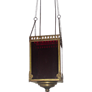 Victorian Ruby Red Retractable Pull Down Hanging Candle Lamp