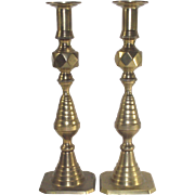 Brass Push-Up Style Beehive Candlesticks