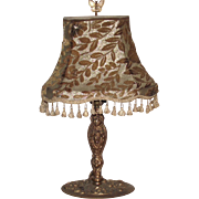 Art Nouveau Table Lamp Nouveau Lady with Original Cut Velvet Shade and Butterfly Finial