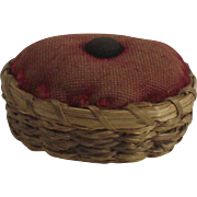 Sweet Grass Basket Pin Cushion Double Lashed Rim Antique