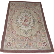 Hooked Rug Dusty Rose with Greens Roses 1950's