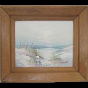 Signed Laura Keswick Oil on Canvas Little Girl on The Beach