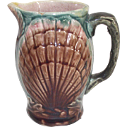 Majolica Shell Pattern Cream or Milk Pitcher