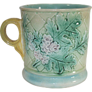 Majolica Mug Forget me Nots and Oak Leaf