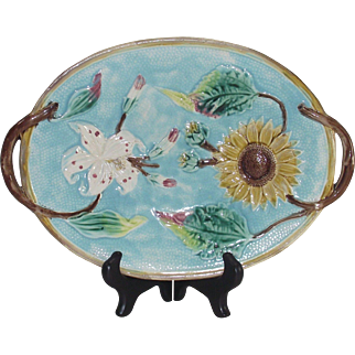 Majolica Sunflower and Day Lily Platter by Wardle