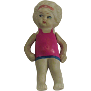 """Vintage 1930s Japan Bisque Girl Doll 3 1/2"""" Tall"""