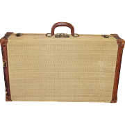 Vintage Grass Cloth Covered Suitcase Leather Edges, Handle and Straps