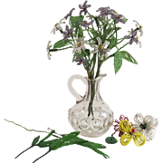 Vintage French Beaded Flowers Purple and White